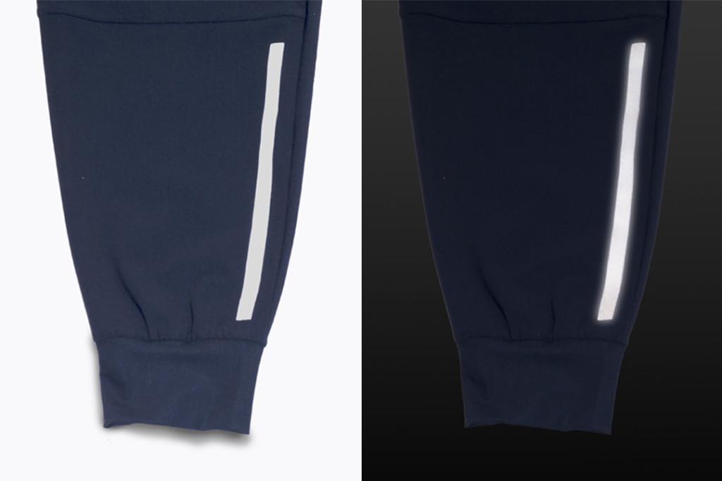 ミストラルメンズジョガーパンツ裾に施されたリフレクタープリント