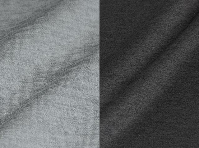 ダンボールニットジップアップパーカーとロングパンツ「ミストラルメンズテクイッド」シリーズ使用生地写真