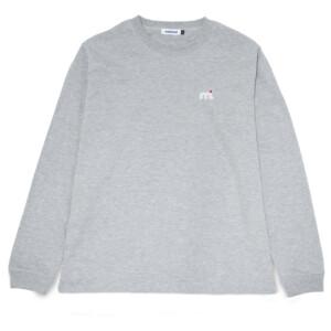 ミストラル男女兼用ユニセックスコットン長袖Tシャツ -ビッグロゴ-杢グレーフロントプリント