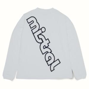 ミストラル男女兼用ユニセックスコットン長袖Tシャツ -ビッグロゴ-ホワイトバックデザイン