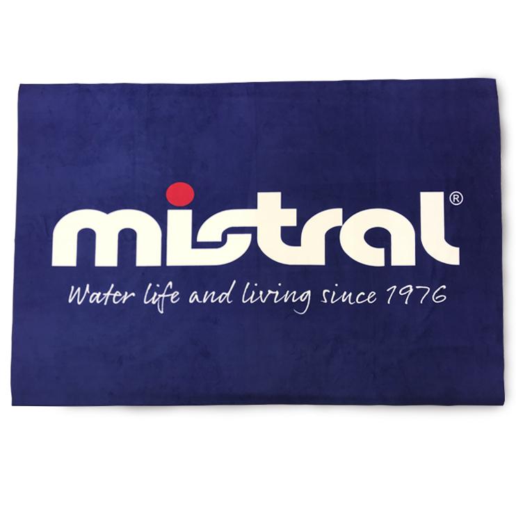 ミストラル高機能ビーチタオル「ドライアウトビーチタオル」ネイビー(オモテ面)100cm×150cm。ウォータースポーツ、旅行時、 またヨガやフィットネスなどジム用タオルとしても活躍。