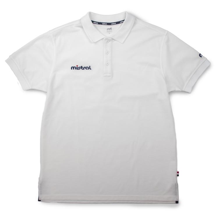 高級感と清潔感を与える表面感。ウォータースポーツブランドの吸水速乾(ドライ)ポロシャツ「ミストラル メンズ シーコンフォートポロシャツ ホワイト」フロントデザイン(左腕にmドット刺繍ブランドロゴ入り)