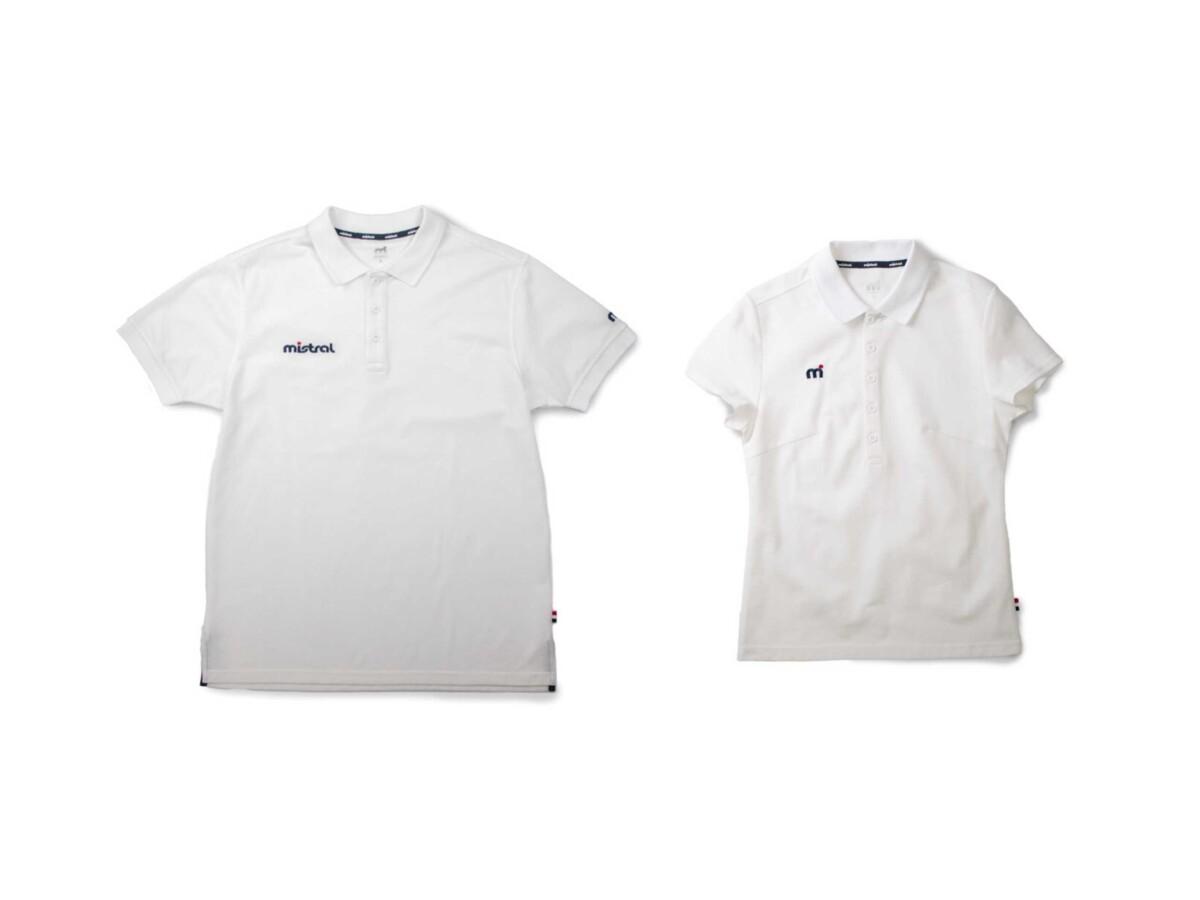 ウォータースポーツブランドmistral(ミストラル)メンズ・レディース襟付き吸水速乾(ドライ)ポロシャツ半袖「ミストラル コンフォートポロシャツ (ホワイト)」 ブランドロゴ刺繍mドット ポリエステル・綿混素材 おすすめ着用シーン スポーツ、普段着、クールビズ、ビジネス
