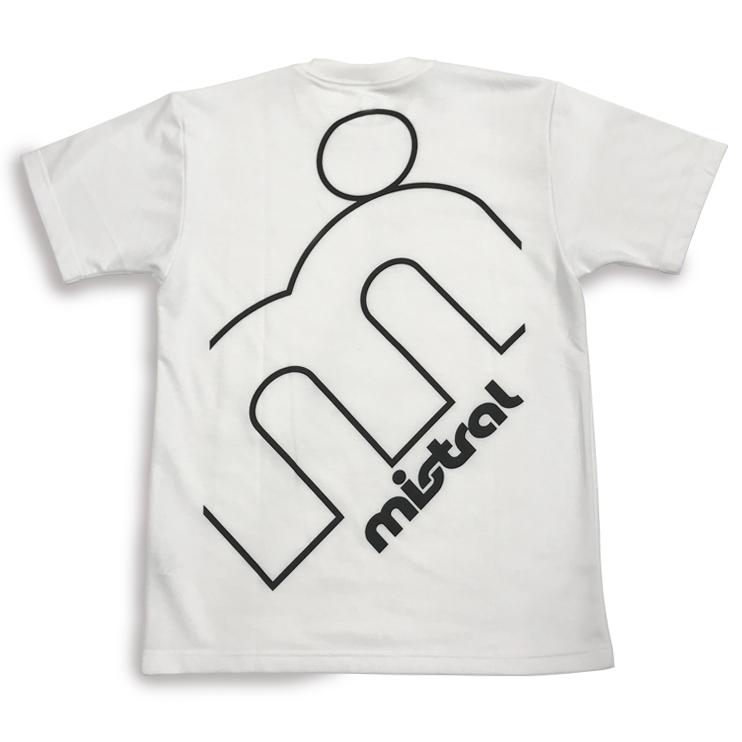 男女兼用日本製機能Tシャツ「ミストラル ユニセックス 半袖 T シャツ - グレイトエム - (ホワイト)」バックデザイン。背中に大きめなmドットブランドロゴ入り。