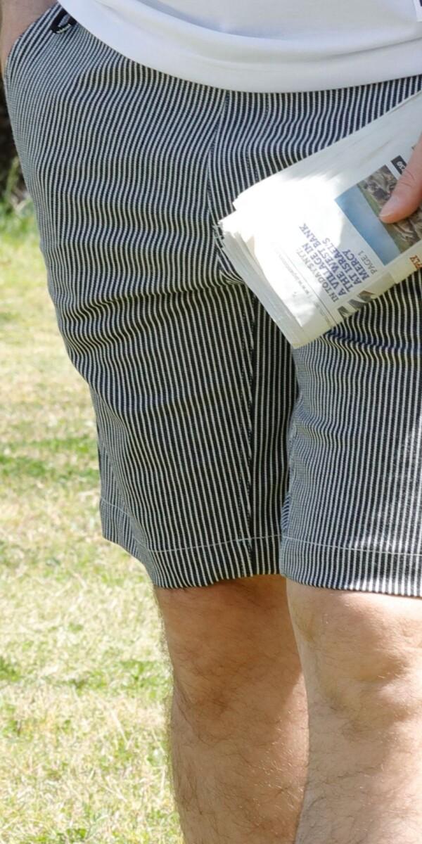メンズ コットンシーコンフォートショートパンツ  ネイビー x ホワイト