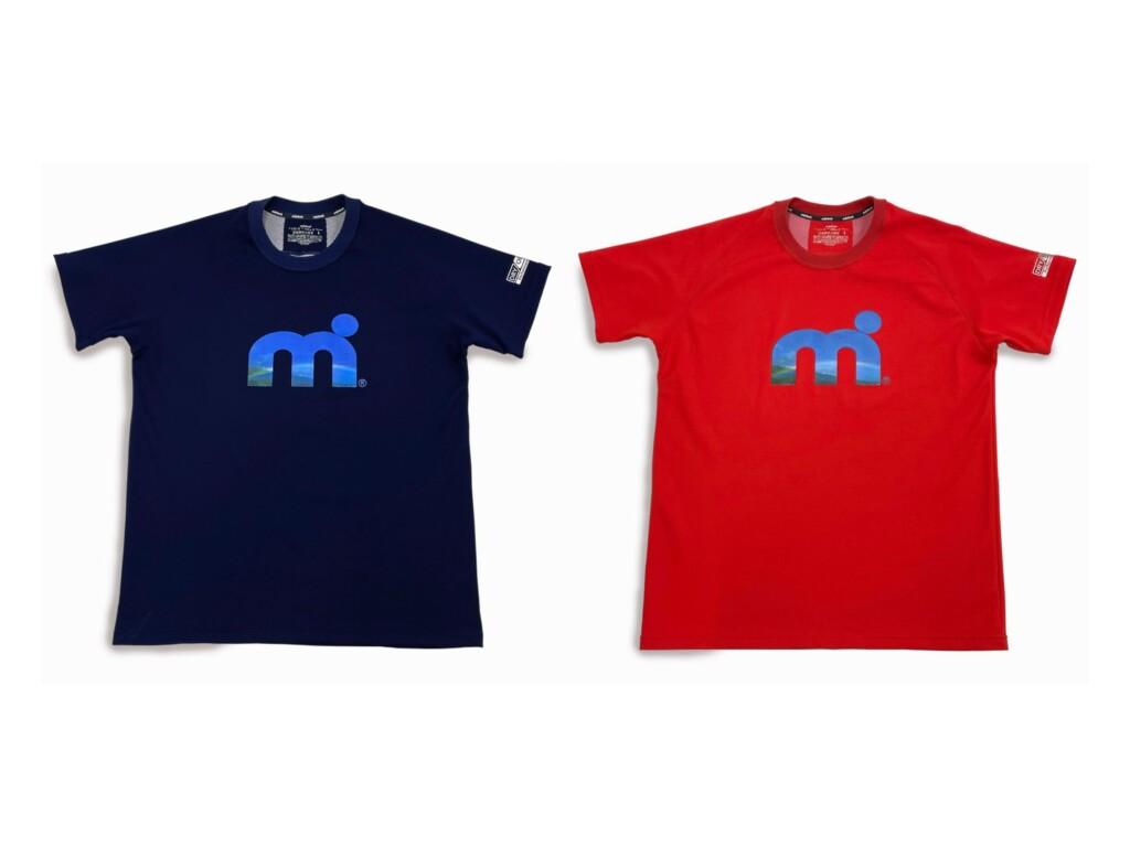 汗べたつき軽減・吸水速乾・UVカット素材 ミストラル機能スポーツTシャツ「HP-DRY(ハイドロフォビックドライ)Tシャツ エムドットスカイ」レッド(赤)、ネイビー(紺)商品写真 メンズ・レディース兼用