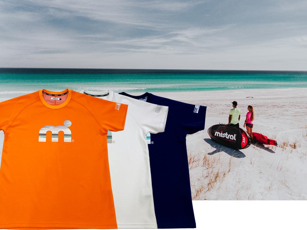 汗べたつき軽減・吸水速乾・UVカット素材 ミストラル機能スポーツTシャツ「HP-DRY(ハイドロフォビックドライ)Tシャツ」白、オレンジ、ネイビー男女兼用